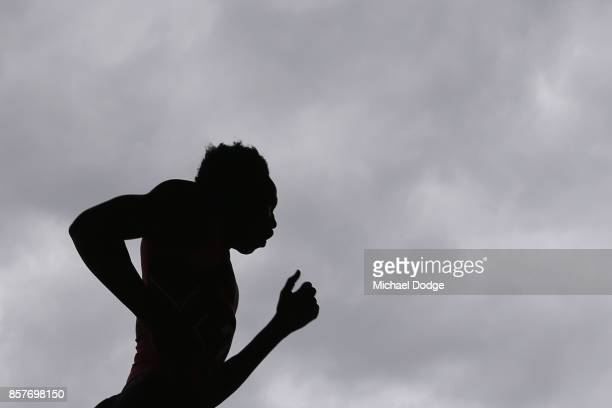 Changkouth Jiath of Gippsland Power competes in the YoYo run during the AFL Draft Combine at Etihad Stadium on October 5 2017 in Melbourne Australia