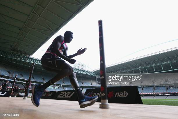 Changkouth Jiath of Gippsland Power takes part in the Agility test during the AFL Draft Combine at Etihad Stadium on October 5 2017 in Melbourne...