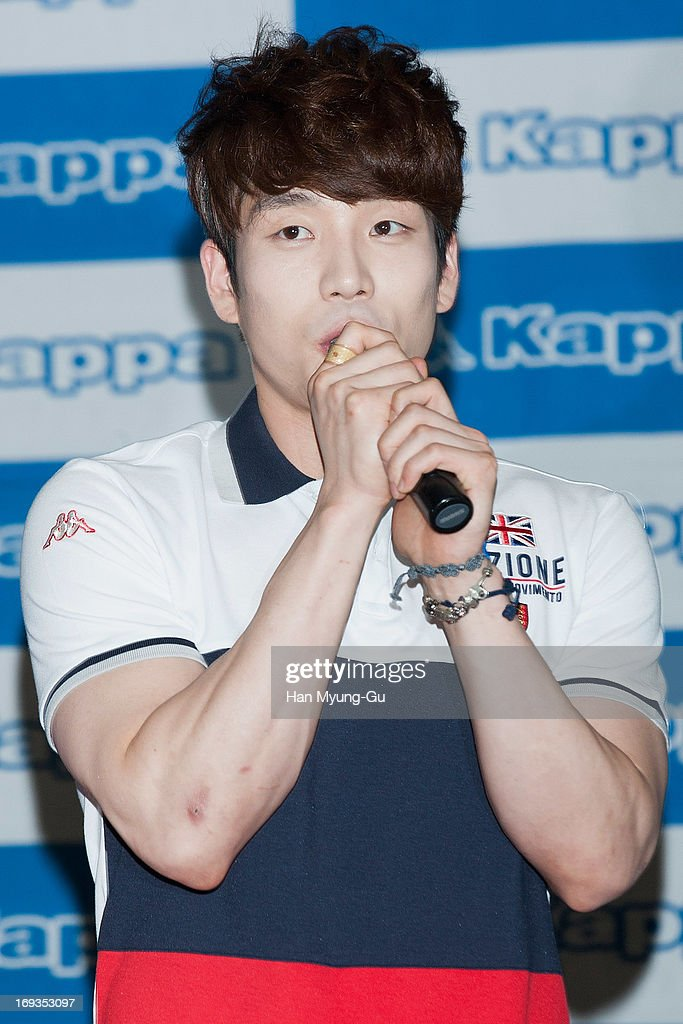 Changmin of South Korean boy band 2AM attends the autograph session for Kappa at Hyundai Department Store on May 23 2013 in Seoul South Korea