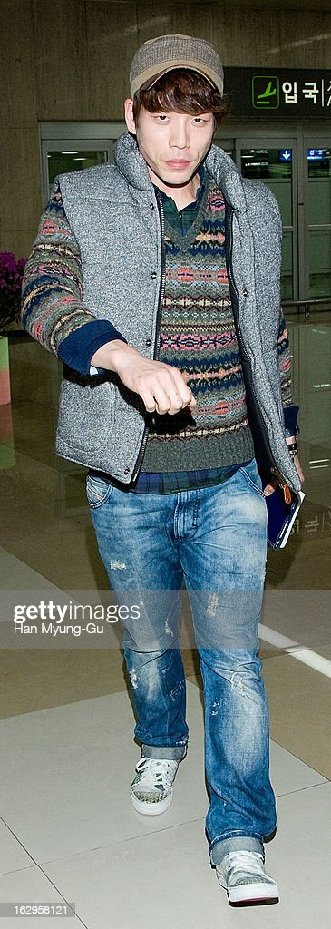 Changmin of South Korean boy band 2AM is seen upon arrival from Japan at Gimpo International Airport on March 2 2013 in Seoul South Korea