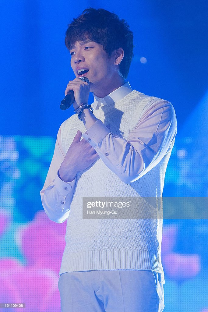 Changmin of South Korean boy band 2AM performs onstage during the MBC Music 'Show Champion' at UniqloAX Hall on March 20 2013 in Seoul South Korea