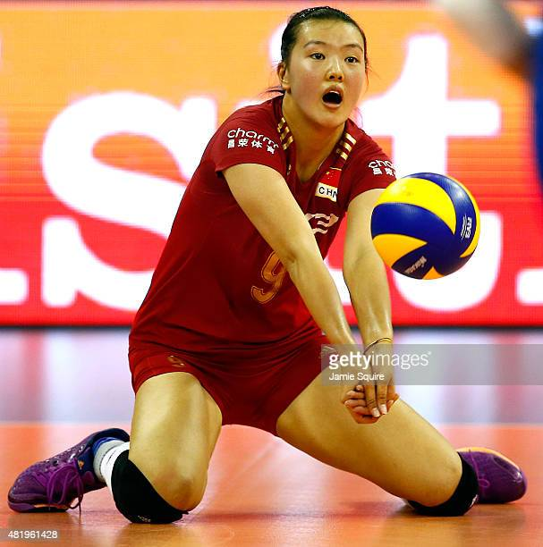 Changning Zhang of China digs for a return during the final round match against Russia on day 4 of the FIVB Volleyball World Grand Prix on July 25...