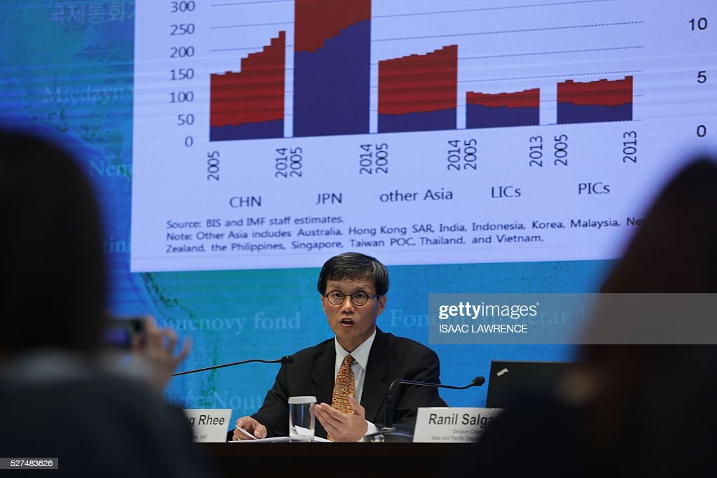 Changyong Rhee, director of the Asia and Pacific Department for the International Monetary Fund (IMF), speaks at a press conference in Hong Kong on the IMF's regional economic outlook for Asia and Pacific on May 3, 2016. China and Japan's economies are expected to slow sharply over the next two years but Asian growth will remain strong as domestic demand takes up the slack from weak global trade, the IMF said on May 3. LAWRENCE