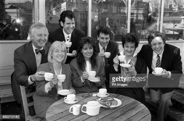 Channel 4 breakfast television presenters enjoy a cup of tea in London's Covent Garden From left to right Michael Nicholson Carol Barnes Garry Rice...