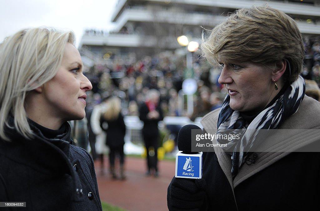 Channel 4 presenter Clare Balding (R) interviews trainer Rebecca Curtis at Cheltenham racecourse on January 26, 2013 in Cheltenham, England.