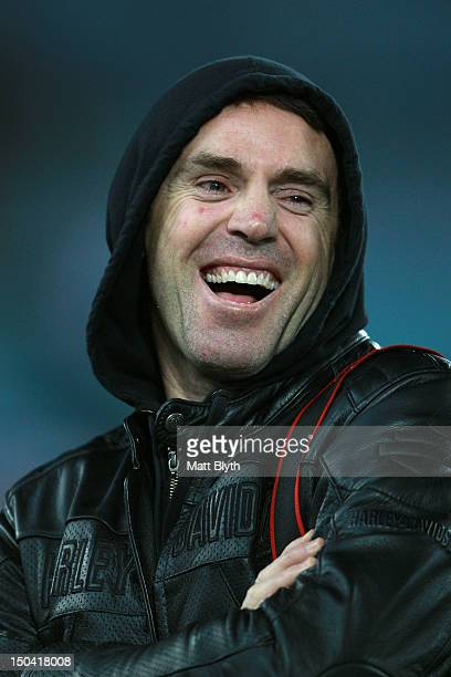 Channel 9 commentator and former NRL player Brad Fittler smiles before the round 24 NRL match between the Canterbury Bulldogs and the Wests Tigers at...