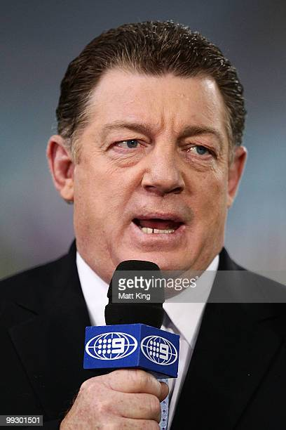 Channel 9 commentator and former rugby league player Phil Gould talks on camera before the round 10 NRL match between the CanterburyBankstown...