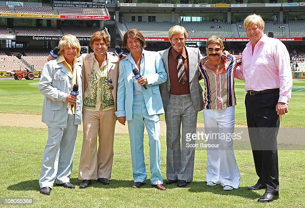 Channel 9 commentators Ian Healy Mark Taylor Mark Nicholas James Brayshaw Michael Slater and Tony Greig pose before game one of the Commonwealth Bank...
