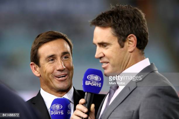 Channel 9 Wide World Of Sports commentators Andrew Johns and Brad Fittler talk during the round 26 NRL match between the Parramatta Eels and the...