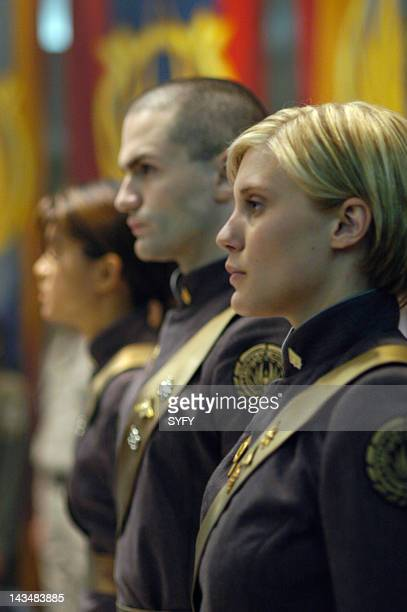 Channel 'Act of Contrition' Episode 4 Aired 11/8/04 Pictured Sam Witwer as Crashdown Katee Sackhoff as Lt Kara 'Starbuck' Thrace
