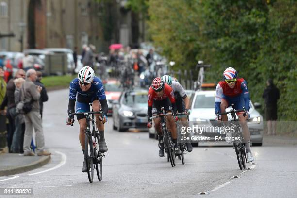 Channel Canyon's Harry Tanfield leads past Snape Maltings during stage six of the OVO Energy Tour of Britain from Newmarket to Aldeburgh