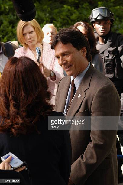 Channel 'Colonial Day' Episode 11 Aired 1/10/05 Pictured Mary McDonnell as President Laura Roslin Richard Hatch as Tom Zarek Christina Schild as...