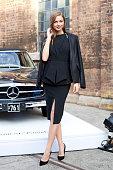 Channel E Australia Presenter Ksenija Lukich wears a Nicholas dress Bec and Bridge Blazer and Kurt Geiger shoes at MercedesBenz Fashion Week...