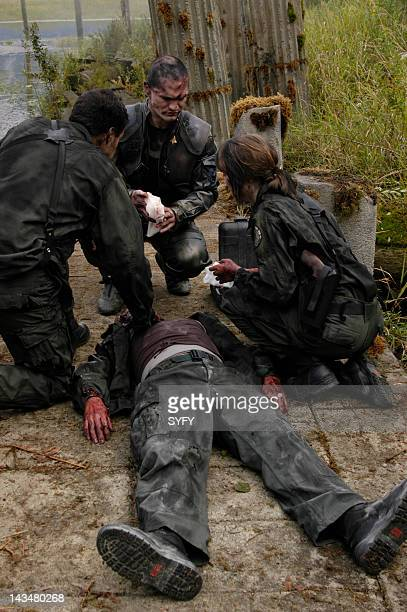Channel 'Kobol's Last Gleaming Part 1 2' Episode 12 13 Aired 1/17/05 01/24/05 Pictured Aaron Douglas as Chief Petty Officer Galen Tyrol Sam Witwer as...