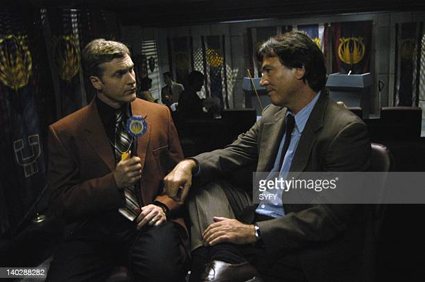Channel 'Lay Down Your Burdens Part 1' Episode 19 Air Date Pictured David Kaye as James McManus Richard Hatch as Tom Zarek Photo by Carole Segal/SCI...