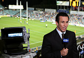 Channel nine commentator Matthew Johns addresses the television audience before the round 10 NRL match between the Parramatta Eels and the Sydney...