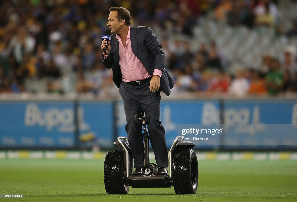 Channel Nine commentator Michael Slater rides on a Segway during game two of the Twenty20 International series between Australia and Sri Lanka at the Melbourne Cricket Ground on January 28, 2013 in Melbourne, Australia.