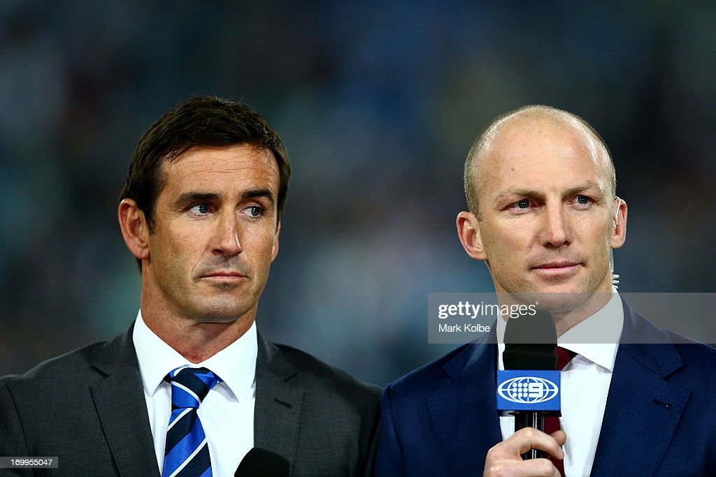Channel Nine commentators and former NRL players Andrew Johns and Darren Lockyer are seen before game one of the ARL State of Origin series between the New South Wales Blues and the Queensland Maroons at ANZ Stadium on June 5, 2013 in Sydney, Australia.