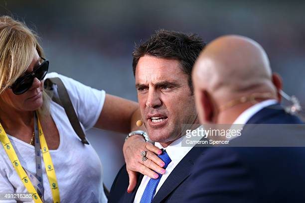 Channel Nine commentators Brad Fittler and Gorden Tallis prepare before the 2015 NRL Grand Final match between the Brisbane Broncos and the North...