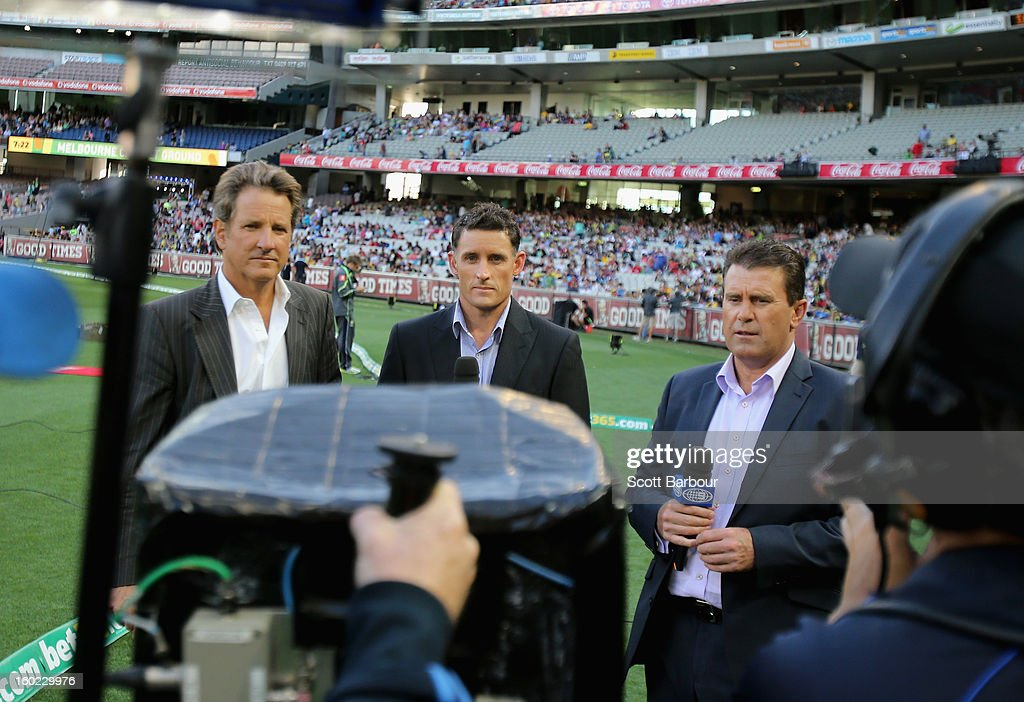 Channel Nine commentators Mark Nicholas, Michael Hussey and Mark Taylor look on during game two of the Twenty20 International series between Australia and Sri Lanka at the Melbourne Cricket Ground on January 28, 2013 in Melbourne, Australia.
