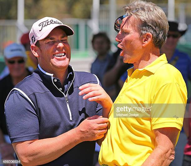Channel Nine Footy Show cohost Sam Newman jokes around with former Australian Test cricketer Shane Warne during the ProAm ahead of the 2014...