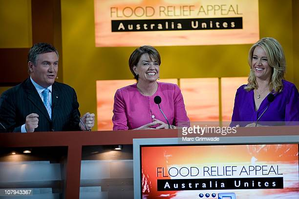 Channel Nine hosts Eddie Maguire and Leila McKinnon with Queensland Premier Anna Bligh at the Channel Nine And Daily Telegraph telethon appeal for...