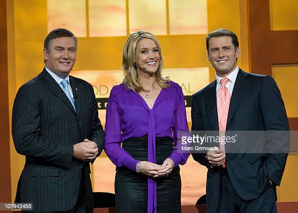Channel Nine hosts Eddie Maguire Leila McKinnon and Karl Stefanovic at the Channel Nine And Daily Telegraph telethon appeal for Queensland flood...