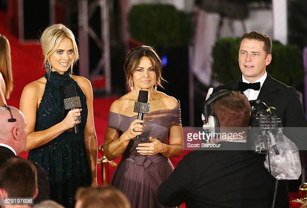 Channel Nine presenters Sylvia Jeffreys Lisa Wilkinson and Karl Stefanovic at the 58th Annual Logie Awards at Crown Palladium on May 8 2016 in...