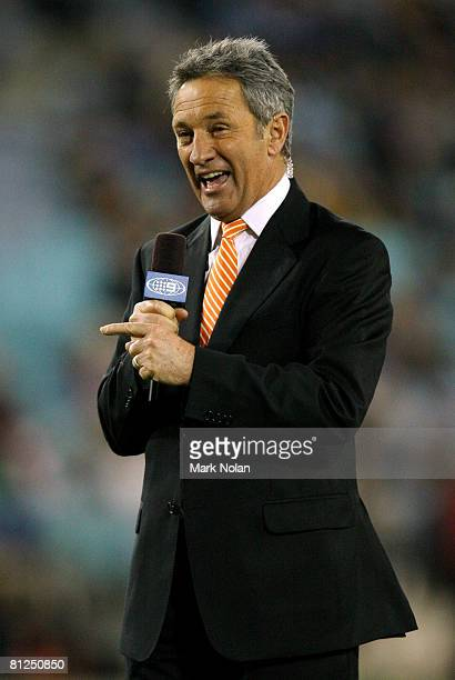 Channel nine sports presenter and commentator Ken Sutcliffe addresses the television audience before match one of the ARL State of Origin series...