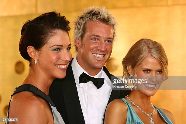 Channel Nine TV Personalities Giaan Rooney Jules Lund and Georgia Sinclair arrive at the 2007 Allan Border Medal at Crown Casino on February 5 2007...