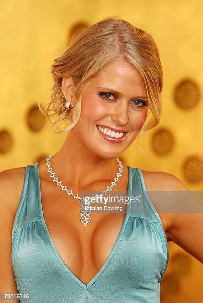 Channel Nine TV personality Georgia Sinclair arrives at the 2007 Allan Border Medal awards ceremony at Crown Casino on February 5 2007 in Melbourne...