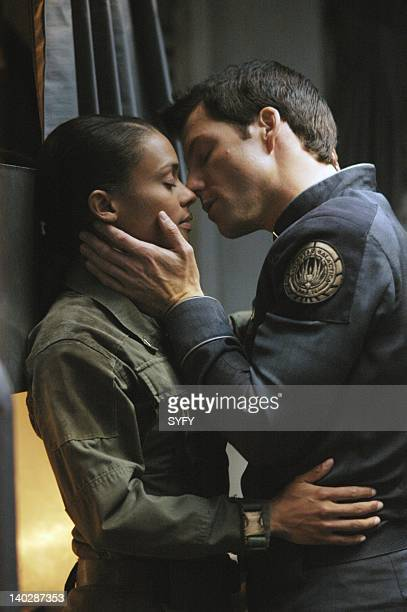 Channel 'Sacrifice' Episode 16 Air Date Pictured Kandyse McClure as Petty Officer Anastasia Dualla Jamie Bamber as Captain Lee 'Apollo' Adama Photo...