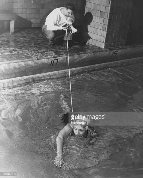 Channel swimmer Florence Chadwick training at the Henry Hudson Hotel England