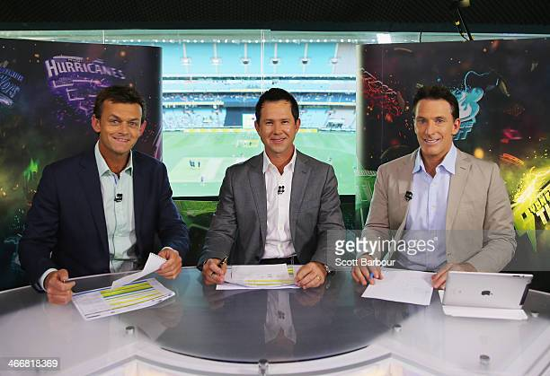 Channel Ten Big Bash television presenters and former Australian cricketers Adam Gilchrist Ricky Ponting and Damien Fleming prepare on set before...