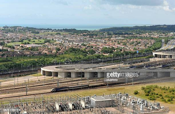 Channel Tunnel freight train heading out of the Folkestone terminal