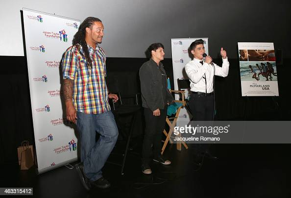 Channing Crowder Carlos Pratts and Hector Duran speak at the Private Screening of McFarland USA with Actors Carlos Pratts and Hector Duran Channing...