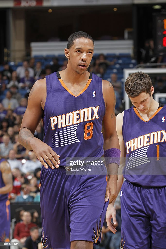 Channing Frye #8 and Goran Dragic #1 of the Phoenix Suns in a game against the Sacramento Kings on October 17, 2013 at Sleep Train Arena in Sacramento, California.