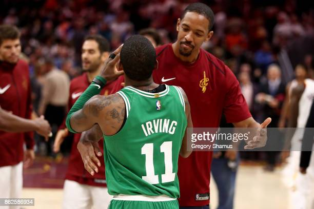 Channing Frye of the Cleveland Cavaliers and Kyrie Irving of the Boston Celtics shake hug after a Cavaliers 10299 victory at Quicken Loans Arena on...