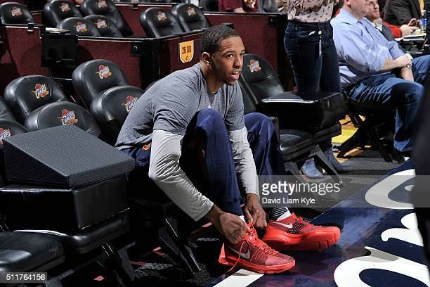 Channing Frye of the Cleveland Cavaliers before the game against the Detroit Pistons on February 22 2016 at Quicken Loans Arena in Cleveland Ohio...