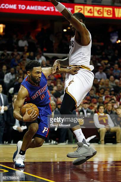 Channing Frye of the Cleveland Cavaliers defends against Darrun Hilliard of the Detroit Pistons at Quicken Loans Arena on April 13 2016 in Cleveland...