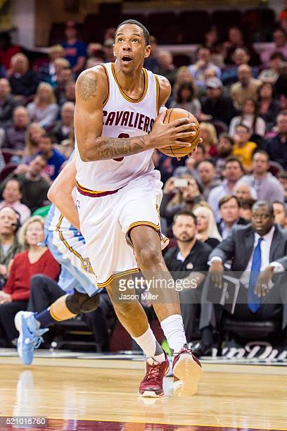 Channing Frye of the Cleveland Cavaliers drives into the paint during the second half against the Denver Nuggets at Quicken Loans Arena on March 21...