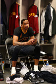 Channing Frye of the Cleveland Cavaliers gets ready before Game Five of the 2016 NBA Finals against the Golden State Warriors on June 13 2016 at...