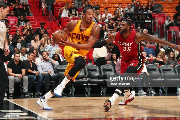 Channing Frye of the Cleveland Cavaliers handles the ball during the game against the Miami Heat on March 4 2017 at AmericanAirlines Arena in Miami...