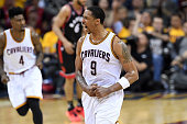Channing Frye of the Cleveland Cavaliers reacts after a play in the third quarter against the Toronto Raptors in game five of the Eastern Conference...