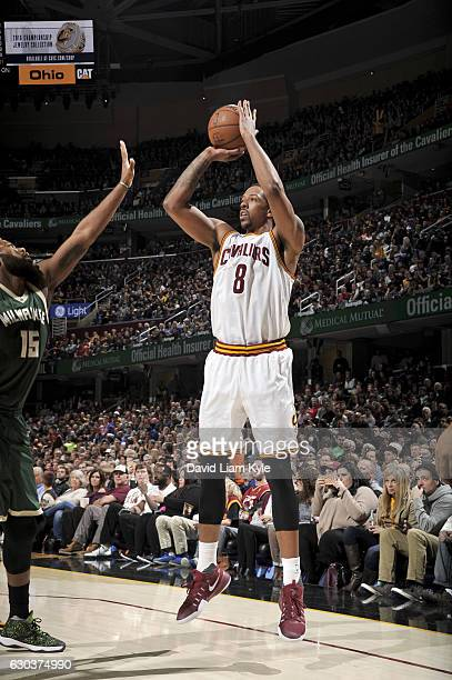 Channing Frye of the Cleveland Cavaliers shoots the ball against the Milwaukee Bucks on December 21 2016 at The Quicken Loans Arena in Cleveland Ohio...