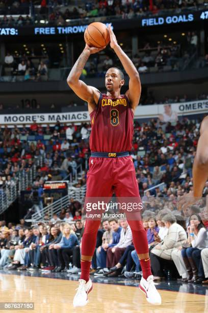 Channing Frye of the Cleveland Cavaliers shoots the ball against the Dallas Mavericks on October 28 2017 at the Smoothie King Center in New Orleans...