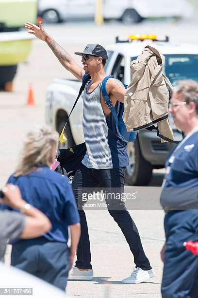 Channing Frye of the Cleveland Cavaliers waves to the fans after returning to Cleveland after wining the NBA Championships on June 20 2016 in...