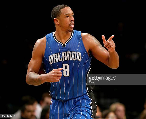 Channing Frye of the Orlando Magic celebrates his shot in the second half against the Brooklyn Nets at Barclays Center on December 14 2015 in the...
