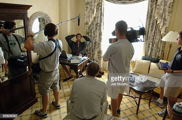 Channing Fyre of the New York Knicks is interviewed in his hotel room during training camp on October 5 2005 in Charleston South Carolina NOTE TO...