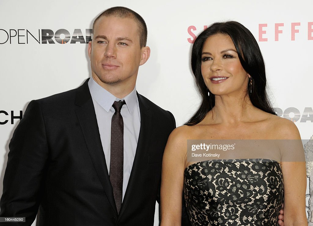 <a gi-track='captionPersonalityLinkClicked' href=/galleries/search?phrase=Channing+Tatum&family=editorial&specificpeople=549548 ng-click='$event.stopPropagation()'>Channing Tatum</a> and Catherine Zeta-Jones attend the premiere of 'Side Effects' hosted by Open Road with The Cinema Society and Michael Kors at AMC Lincoln Square Theater on January 31, 2013 in New York City.